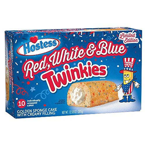 Hostess Red White & Blue Twinkies LIMITED EDITION, 13.5oz,10 count Box (Red, White & -