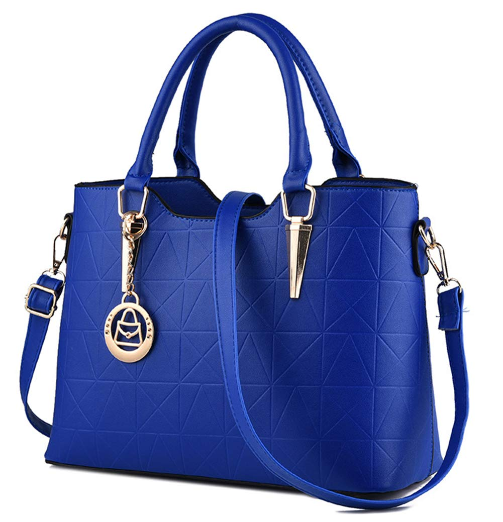 JHVYF Casual Top Handle Handbag Purse Tote Pu Leather Shoulder Bags Women #U sapphire blue