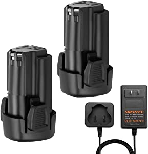 Shentec 2 Pack 3000mAh 12V Li-ion Battery Compatible with Black & Decker LBXR12 LBX12 BL1510 BL1310 BL1110 LB12 (Battery Charger Included)