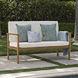 Cheap Great Deal Furniture Linwood Outdoor Brown Patina Acacia Wood Bench with Cream Water Resistant Fabric Cushion