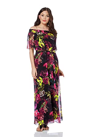 94c56a7af3ba Roman Originals Women Floral Print Maxi Dress - Ladies Bardot Neckline Long  Flowers Hippy Boho Holiday Evening Going Out Dresses Black: Amazon.co.uk:  ...
