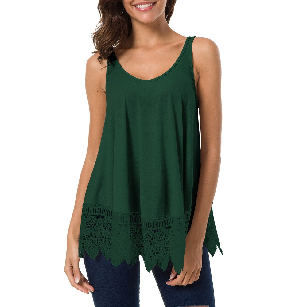 Dunacifa Women Tank Top Fashion Women Lace Casual Sleeveless Blouse Hollow Out Ladies Vest Patchwork Tank Top Green