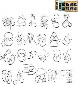 BOROK 24Pack Rompecabezas Metal Puzzles 3D Adultos Juegos de Ingenio Juegos de Mesa Juego IQ Juguete Educativos Habilidad Juego Logica Calendario de Adviento Niños: Amazon.es: Juguetes y juegos