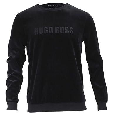 23fac7f74 Hugo Boss Men's Crew Neck Long Sleeve Black Velour Sweatshirt SZ: S