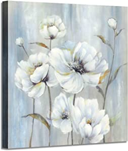Abstract Flower Painting Wall Art: White Peony Picture Bouquet with White Silver Foil Artwork on Canvas for Bedroom (24'' x 24'' x 1 Panel)