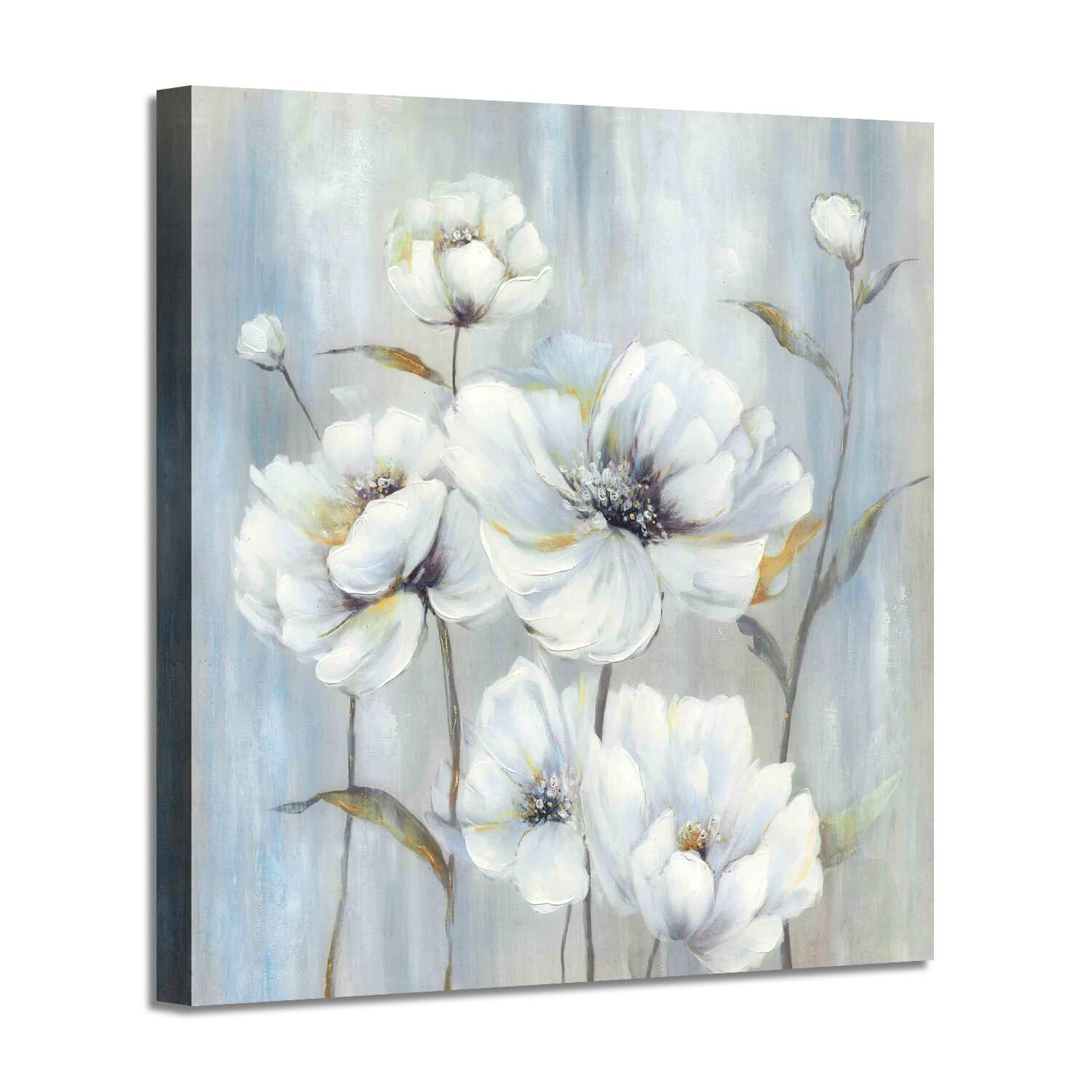 Abstract Flower Painting Wall Art: White Peony Picture Bouquet with White Silver Foil Artwork on Canvas for Bedroom ( 24'' x 24'' x 1 Panel )