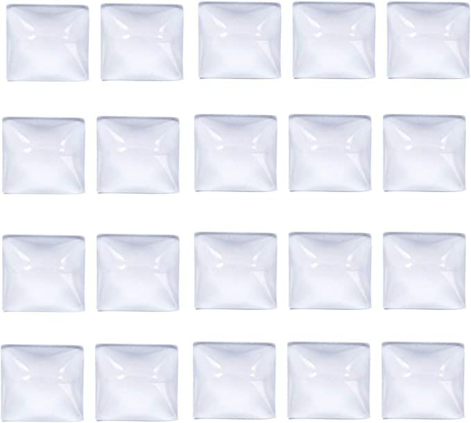 09-11-762 50 Pack 35mm Square Glass Cabochons