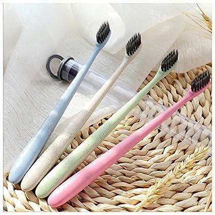 ShireyStore 4 cepillos de dientes creativos de paja de trigo en forma de bambú para suministros