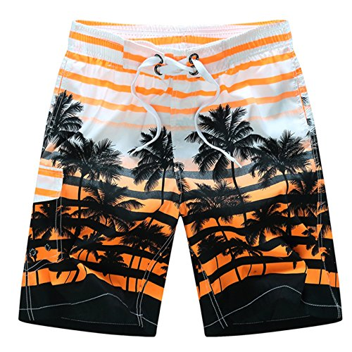 - Tailor Pal Love Mens Swim Trunks - Watershort Swimsuit - Cargo Pockets - Strip Drawstring Waist Coconut Tree Orange X-Large