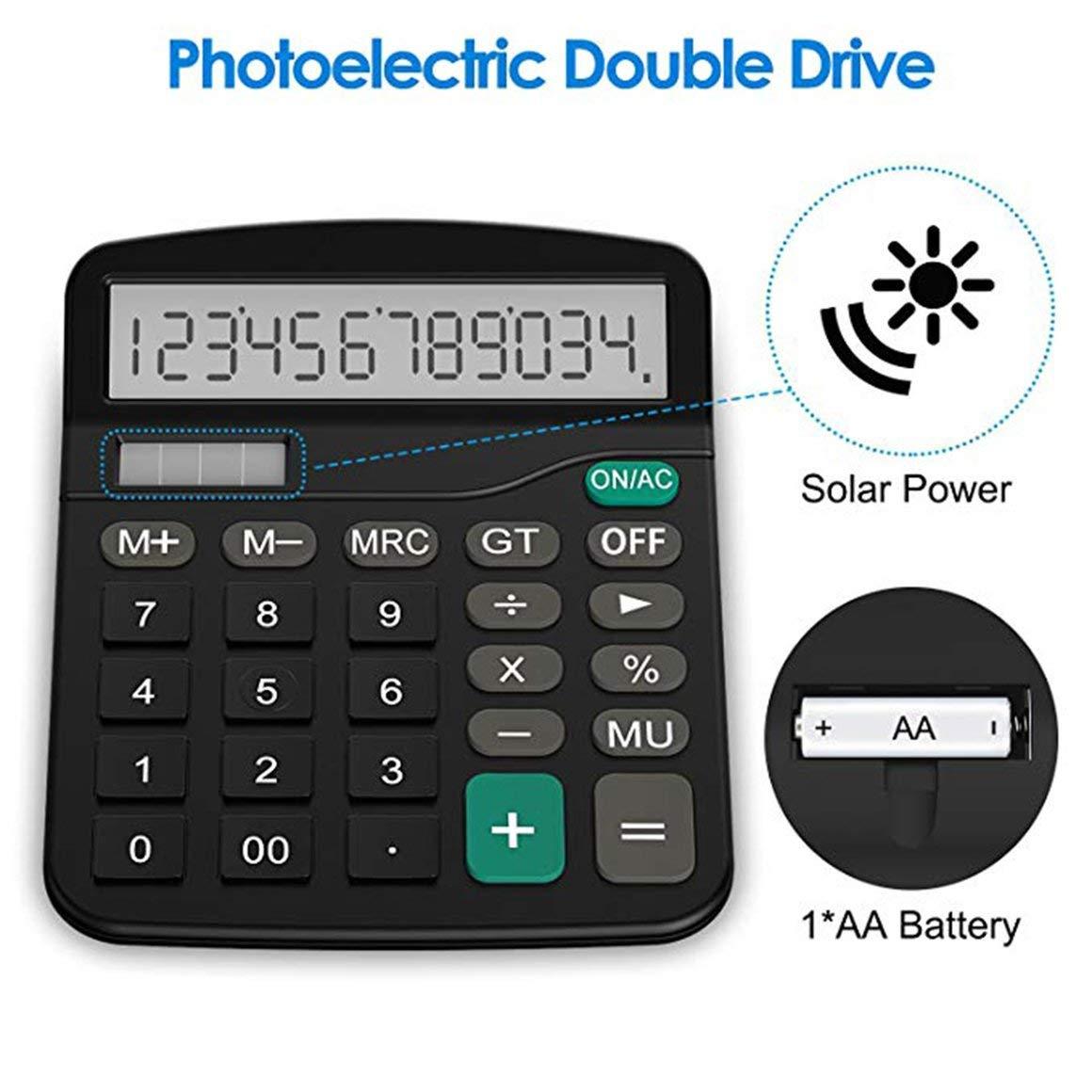 Funnyrunstore Forniture per ufficio calcolatrice da tavolo a 12 bit calcolatrice da ufficio in plastica per computer solare