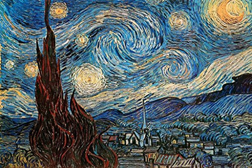 The Starry Night 1889 by Vincent Van Gogh Art Print Mural Giant Poster 54x36 inch