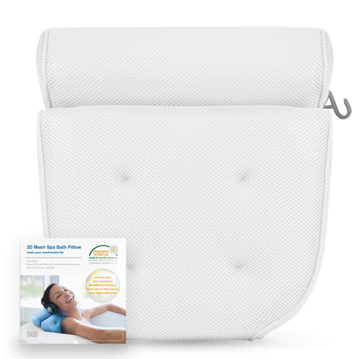 Bath Pillow Spa Pillow Extra Thick, Soft and Large Size for Bathtub, Hot Tub, Jacuzzi, Home Spa Non Slip Support for Head, Neck, Back and Shoulders, 4 Strong Suction Cups CoastaCloud