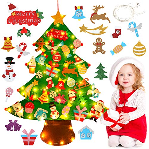 Outgeek Felt Christmas Tree Set for Kids with 33pcs Detachable Ornaments Wall Hanging Xmas Gifts with Flashing Lights Wall Hanging Christmas Tree Decorations