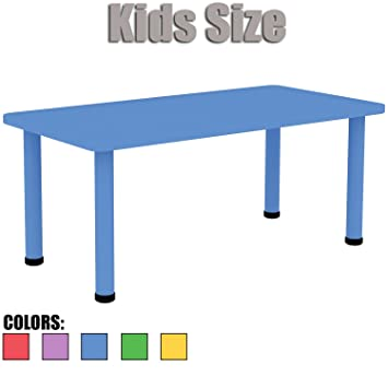 Awesome 2xhome U2013 Blue U2013 Kids Table U2013 Height Adjustable 18.25 Inches To 19.25 Inches    Rectangle