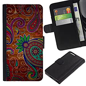 Billetera de Cuero Caso del tirón Titular de la tarjeta Carcasa Funda del zurriago para Apple Iphone 6 PLUS 5.5 / Business Style Henna Tattoo Colorful Colors Flowers