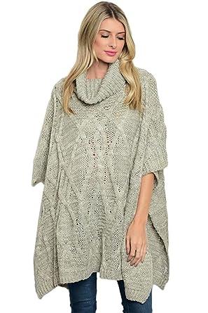 basico Women Gray Cowl Neck Sweater at Amazon Women's Clothing store: