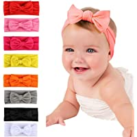 TraderPlus 8 Pack Baby Girl Cute Headbands With Bows Elastic Wrap Hair Band