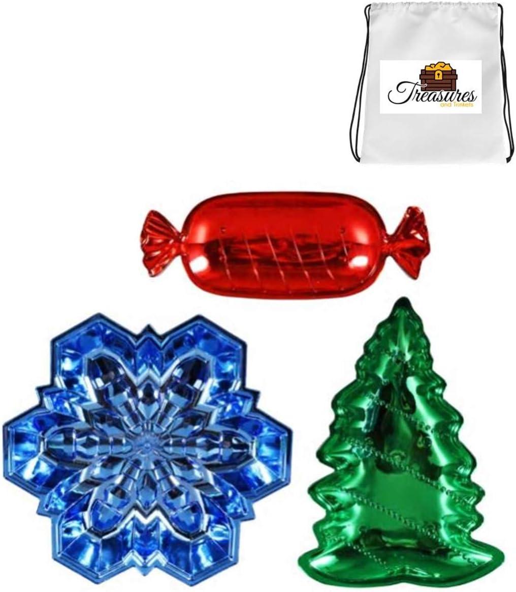 Amazon Com Plastic Molded Christmas Trays Shiny Finish Includes Tnt 9x8 Designed Computer Mouse Pad Tm Candy Snowflake Christmas Tree Bundle Of 3 Kitchen Dining