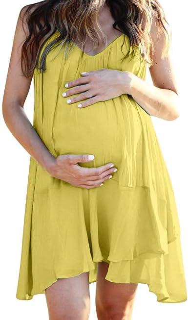 SUNNSEAN Mujer Embarazada Largos Vestido, Vestido Volante Fruncido ...