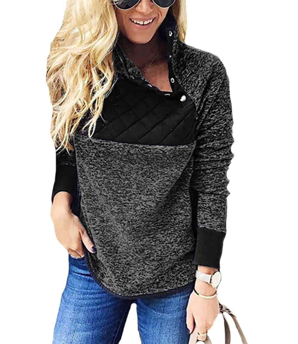 BETTE BOUTIK Women's Pullover Cotton Tops Long Sleeves Stand Collar with Button Splice Black X-Large