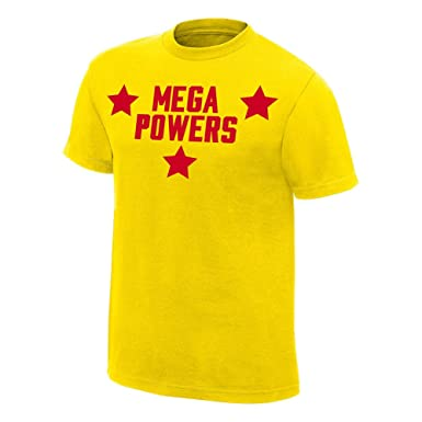 d069a12e72 Amazon.com  Hulk Hogan Macho Man Randy Savage Mega Powers Yellow T ...