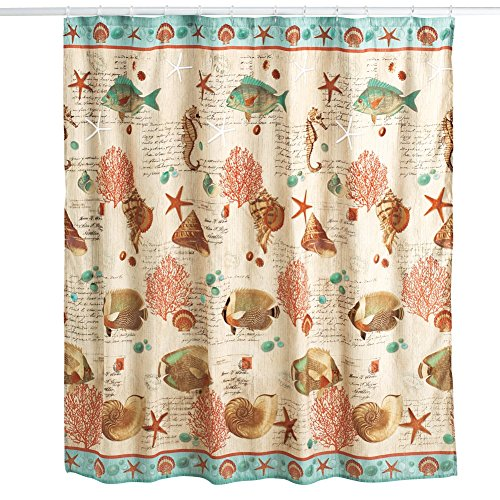 Coastal Seaside Vintage Shower Curtain (Vintage Seaside)