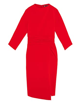 a188ad4c Zara Women Draped Dress 2096/709 Red at Amazon Women's Clothing store: