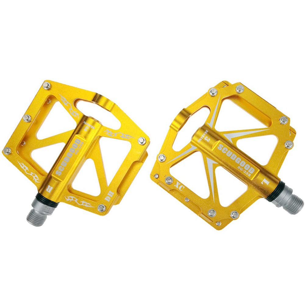 Yellow BAOCENG BMX MTB Bike Pedals,9 16  Bicycle Pedals,Aluminium Alloy Flat Pedal for Road Bicycle