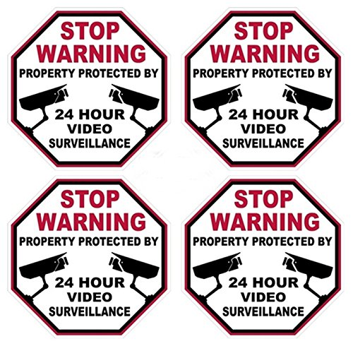 4 Pcs Overwhelming Unique Stop Warning Property Protected By 24 Hour Video Surveillance Sticker Signs Home Security Windows Decals Adhesive Window Premises Neighbor Reflective Trespassing Size 3 X3
