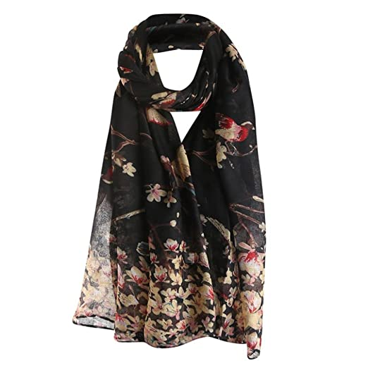 dba7fcedc73903 Clearance Sale! TiTCool Women Flower Bird Printed Elegant Scarf Balinese  Yarn Long Shawl Wrap Lightweight