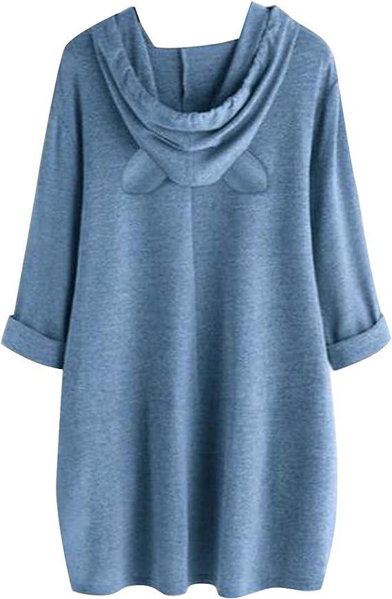 Hattfart Women Hoodies Sweatshirts Christmas Printed Long Sleeve Tunic Oversized Sweatshirt Pockets