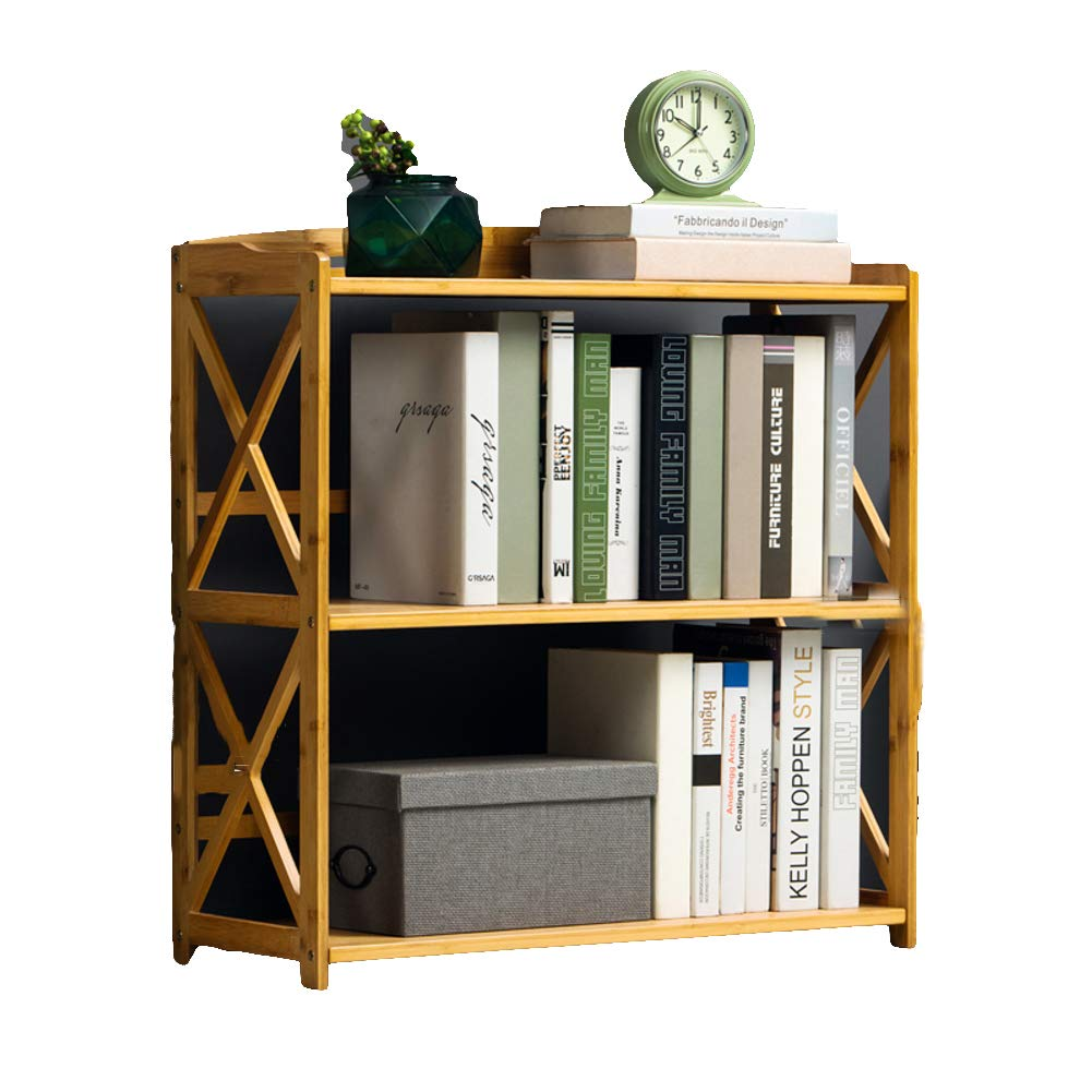 B 70X25X70cm 3-5 Tier Simple Bookcase, Natural Bamboo Easy Assembly Bookshelf for Home Office Storage-B 70X25X70cm