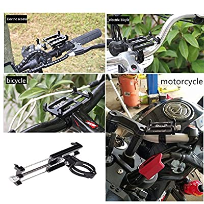 GUB Mountian Bike Phone Mount Bicycle Holder, Aluminum Alloy Adjustable Bike Cell Phone GPS Mount Holder Rotating Cradle Clamp for Bicycle Motorbike,iPhone Samsung Android Smartphones (Black)