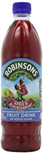 Robinson's Fruit Drink, Apple & Blackcurrant, No Added Sugar, 1-Liter Plastic Bottles (Pack of 4)