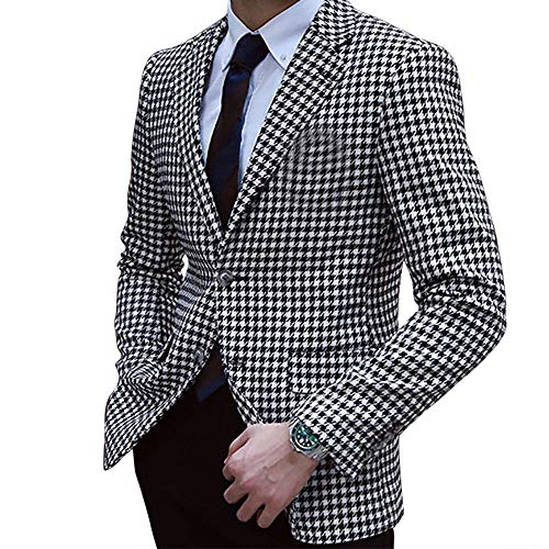 (Premium Houndstooth Dogstooth Plaid Slim Fit Tuxedo Prom Wedding Groom Suits)