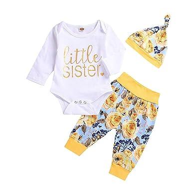 17b726e3a Amazon.com  Newborn Baby Girls Clothes Funny Little Sister Print ...