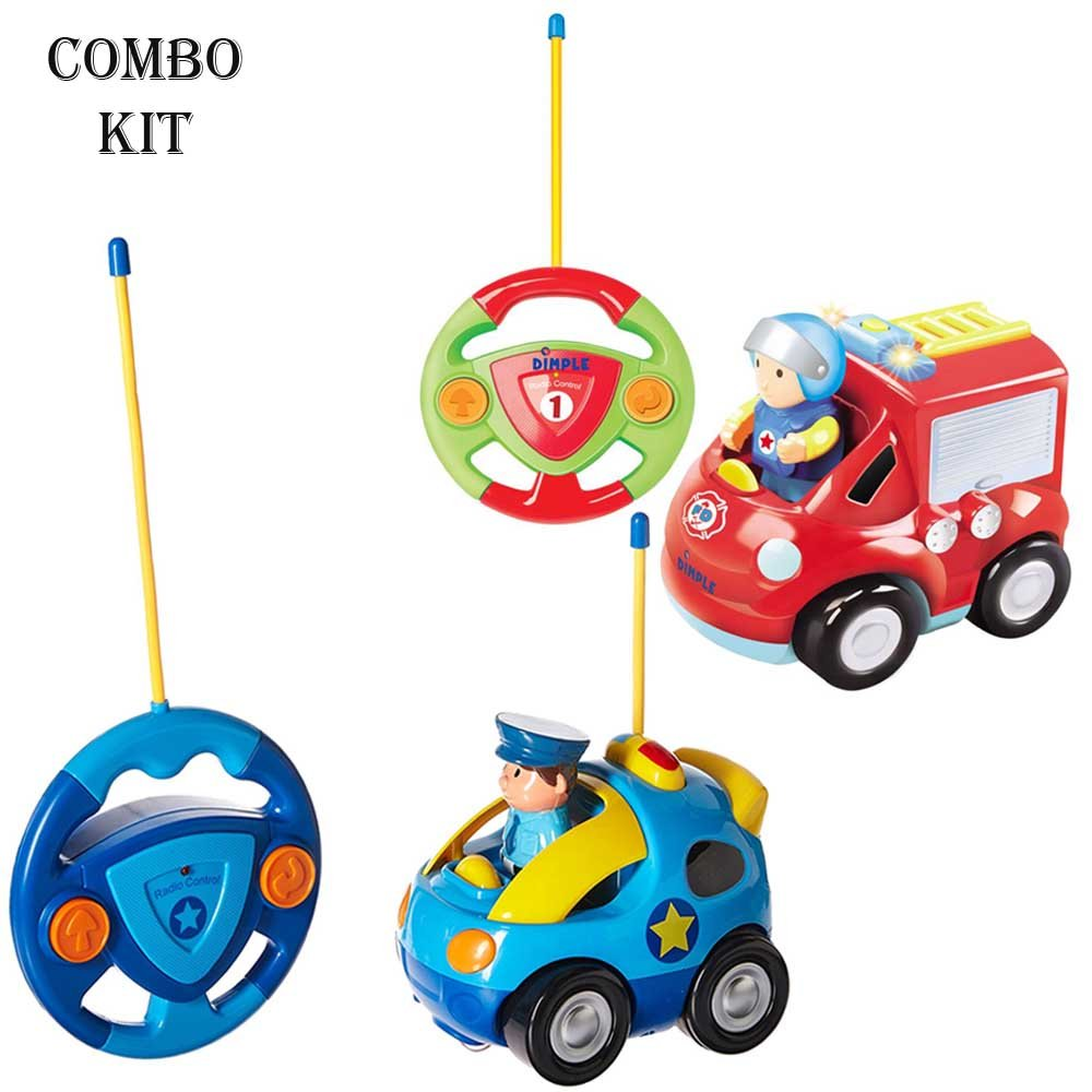 Pack of 2 Cartoon Remote Control (R/C) Police Car & Fire Truck Radio Control Toys for Kids and Toddlers with Sound and Lights by Dimple 49 & 27 Frequency, Best RC Toy and Gift for Kids