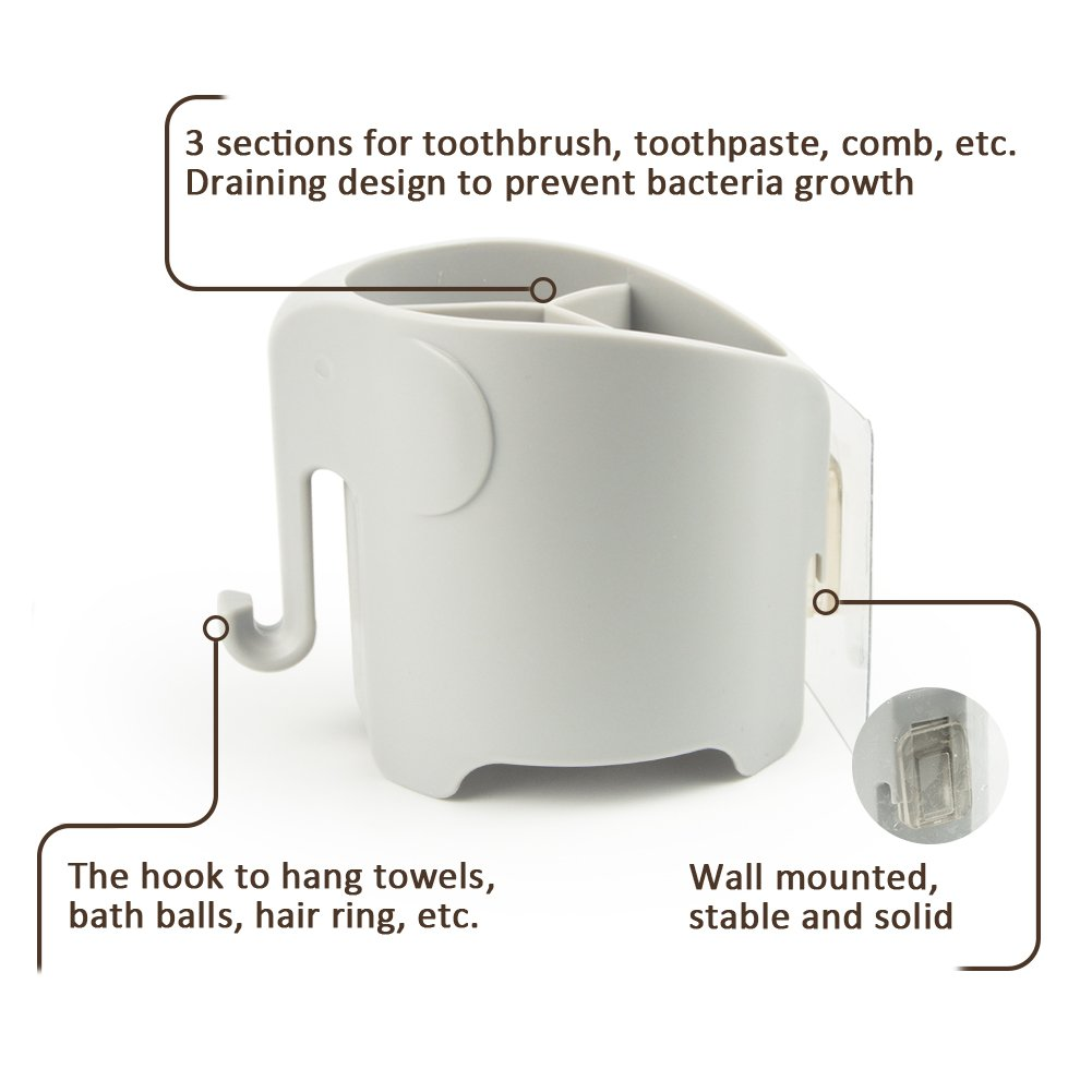 Kids Toothbrush Holder Bathroom Toothbrush Holder for Kids Box Wall Mounted Antibacteria Cute Design, Grey