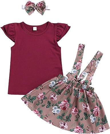 FELZ Ropa Bebe Niña Verano Camiseta de Mangas Cortas de Color ...