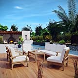 Modway EEI-1479-NAT-WHI-SET Marina Premium Grade A Teak Wood 8-Piece Outdoor Patio Furniture Set, Seating For Seven with Coffee Table, Natural White
