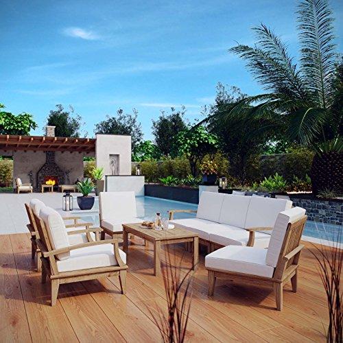 Modway 8-Piece Marina Outdoor Patio Teak Sofa Set, Natural White (Teak Wood Sofa Set)