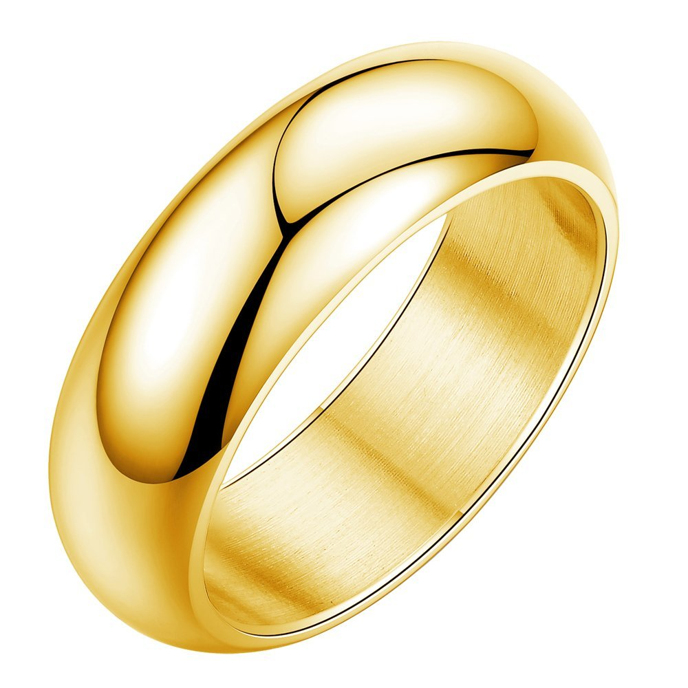 Onefeart Stainless Steel Ring For Men Boy Smooth Design Simple Style Gold Size 9 Gentleman Ring Anti-fade