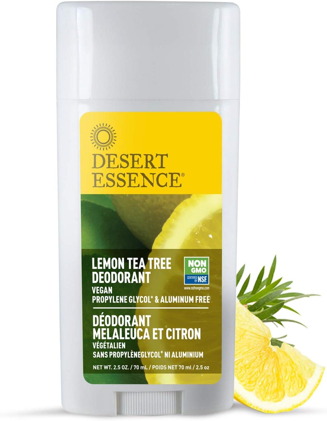 Desert Essence Lemon Tea Tree Deodorant - 2.5 Ounce - Pack of 2 - Long Lasting Protection - Propylene Glycol & Aluminum Free - Witch Hazel - Botanical Oils - Neutralizes Odor - Citrus Scent