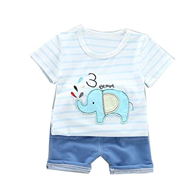 5f3f2f758f4d JIANLANPTT Summer Baby Boy 2 Piece Clothes Set Stripes Shirt and Shorts  Outfits