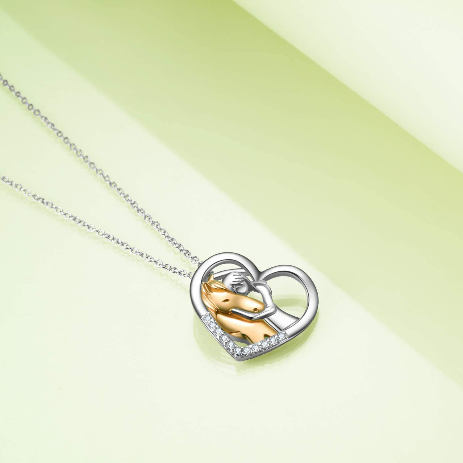 YFN Sterling Silver Lovely Animal Heart Moon Pendant Necklace Jewelry Gift for Women Girls 18