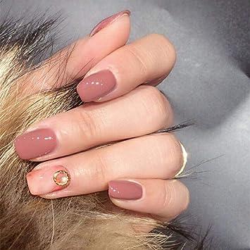 Milanco 24 Pcs False Nails Pink Nude Marble Glitter Gel Natural Short Oval Nails Full Cover Salon Nails Art For Women S025