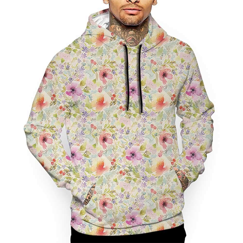 Hoodies Sweatshirt/Men 3D Print Flower,Nostalgic Pastel Soft Colored Different Type Cute Floral Set Spring Hope Leaf Love Theme,Multi Sweatshirts for Teen Girls