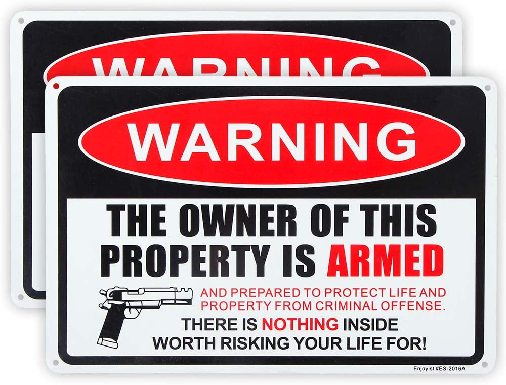 Enjoyist 2 Pack Gun Sign, The Owner of This Property is Armed Sign, 12