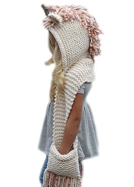 Arkind unicorno Inverno caldo Coif Cappuccio Sciarpa Caps Cappello Earflap  scialli lavorato a maglia cappelli della protezione bambino scherza ragazzi  delle ... 3bac9ab4c2d4