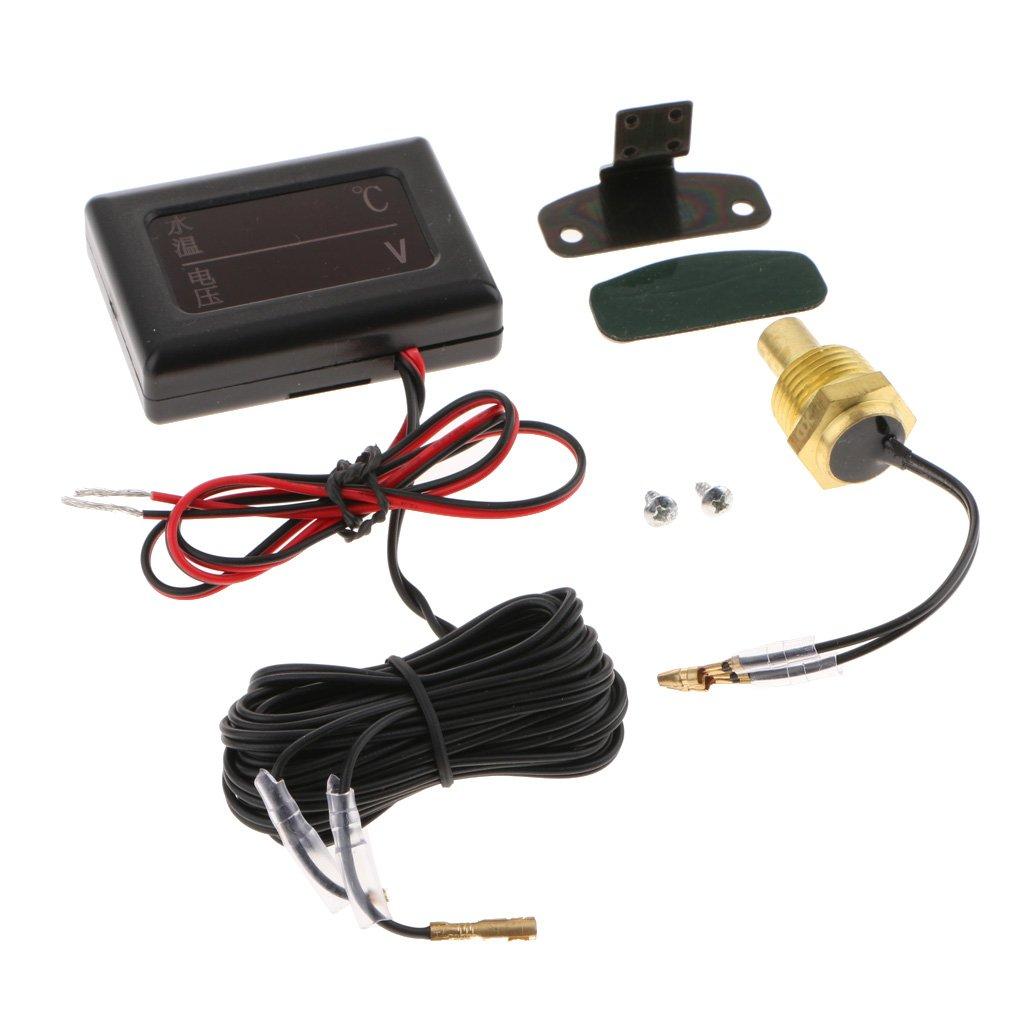 MagiDeal 1 Kit de Dc12v-24v Coche LCD Digital Volt/ímetro Medidor de Temperatura de Agua con Sensor 10mm #1